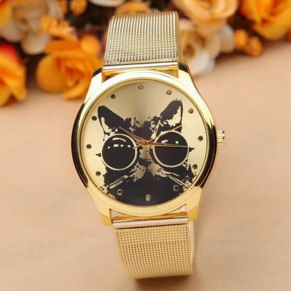 Women Fashion Cat Gold Wrist Watch