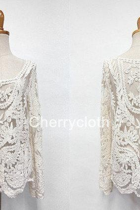 Women Flora Lace Blouse, Lace Top, Swimsuit Coverups