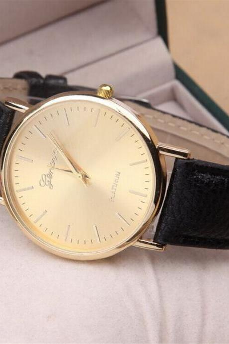 Women Watch, Fashion PU Leather Gold Wrist Watch for Women