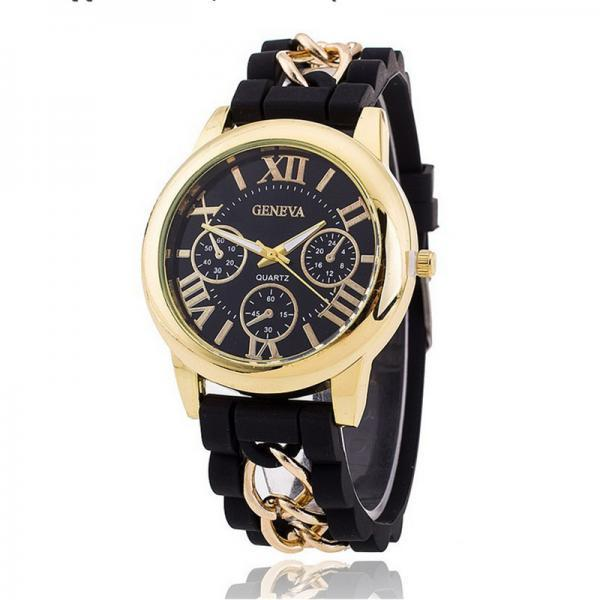 Fashion Silicone Golden Watch for Women
